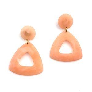 Jewelry - Vintage Peach Acrylic Dangle Earrings Triangle Mod